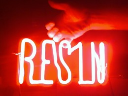 """Resin"" sign for visual agency ""nothing: something: ny"" for Resin Denim 2009"