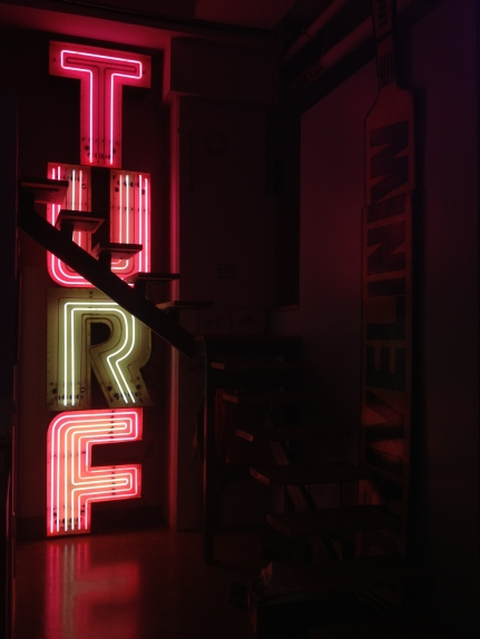 """Original TURF sign from the old TURF restaurant in Downtown Seattle . Each letter approx. 30.5""""W x 37.5""""H x 10""""D"""